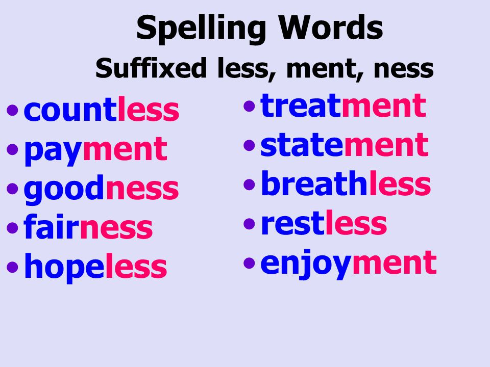 Spelling Words Suffixed less, ment, ness