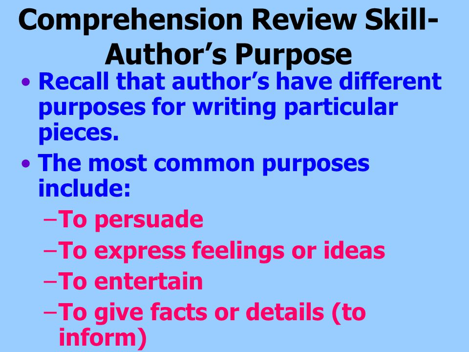 Comprehension Review Skill- Author's Purpose