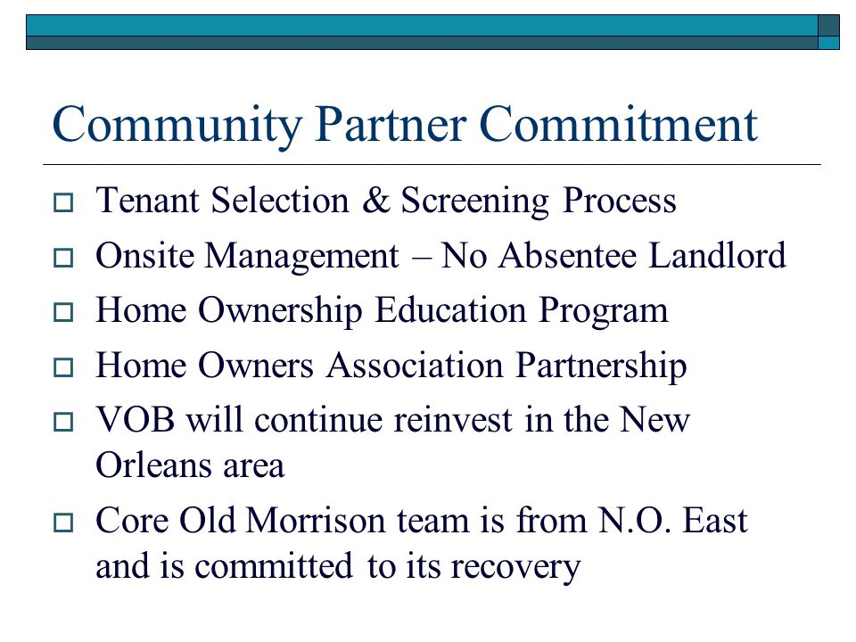 Community Partner Commitment