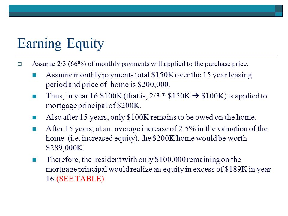 Earning Equity Assume 2/3 (66%) of monthly payments will applied to the purchase price.