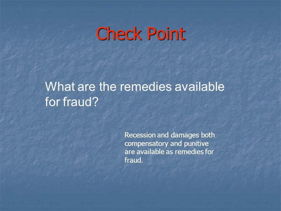 Check Point What are the remedies available for fraud
