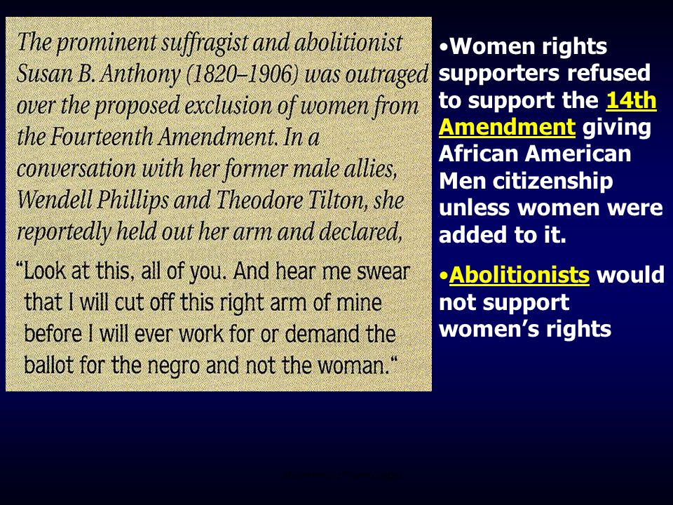 Abolitionists vs Women's rights