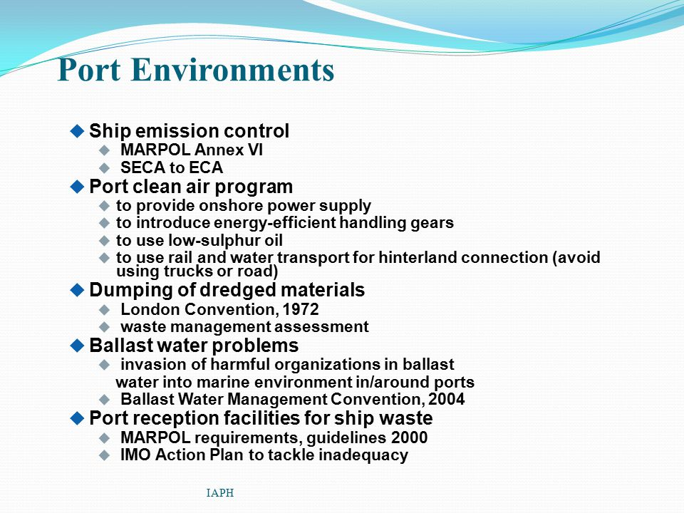 Port Environments Ship emission control Port clean air program