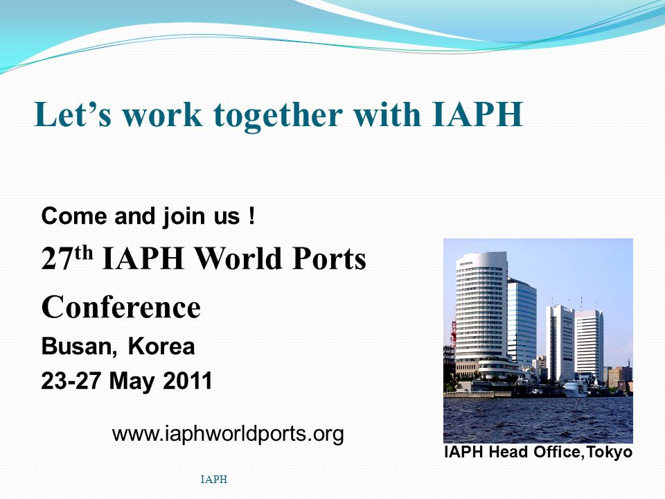 Let's work together with IAPH