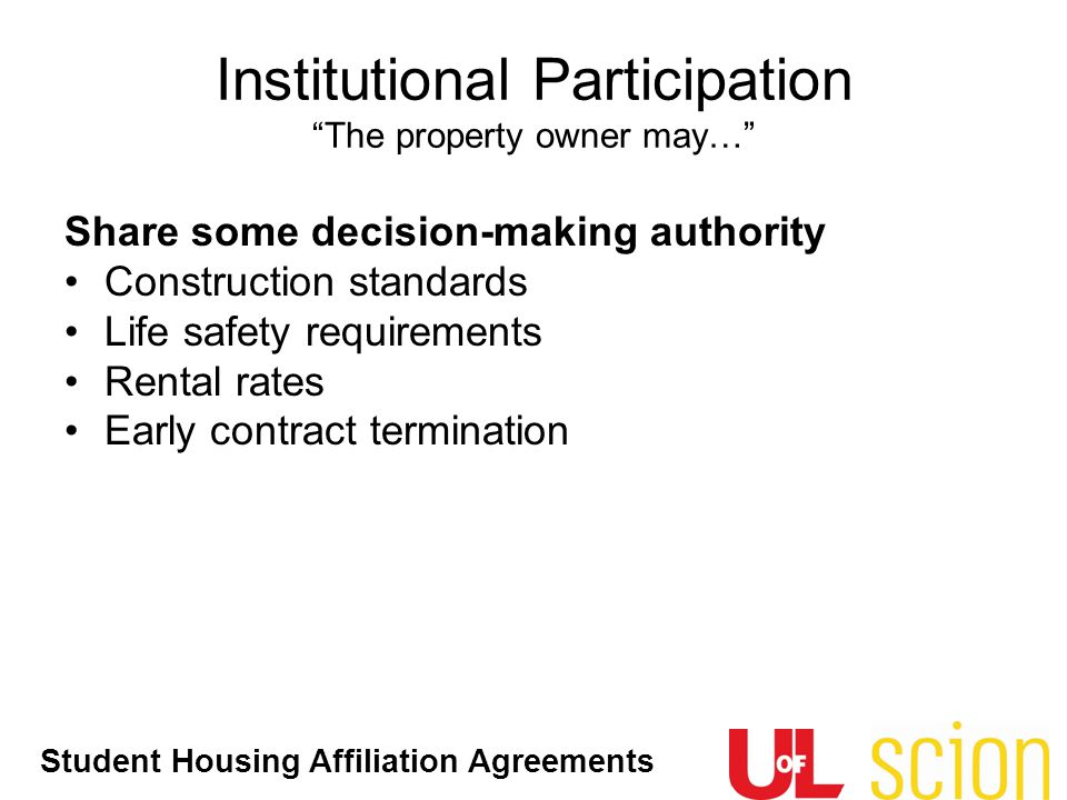 Institutional Participation The property owner may…