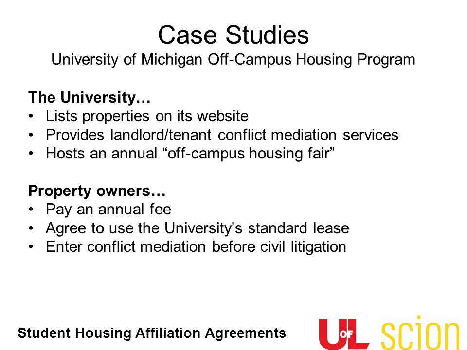 Case Studies University of Michigan Off-Campus Housing Program