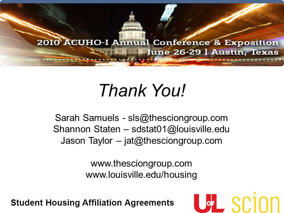 Thank You! Sarah Samuels - sls@thesciongroup.com