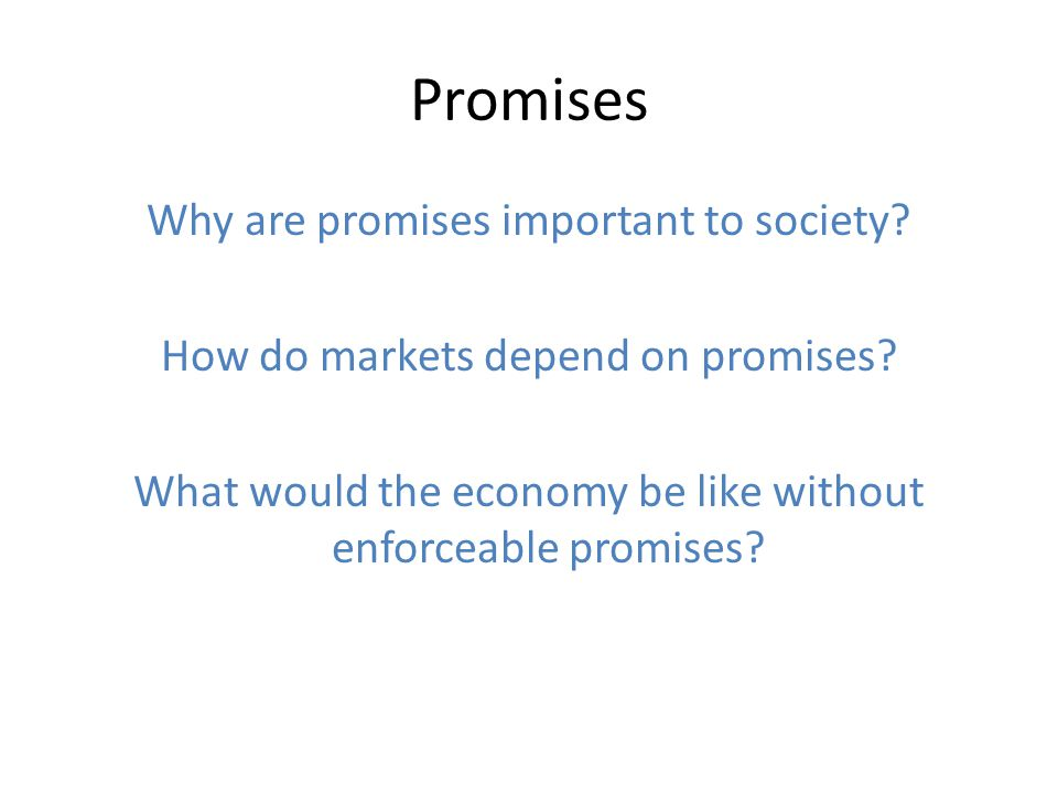 Promises Why are promises important to society