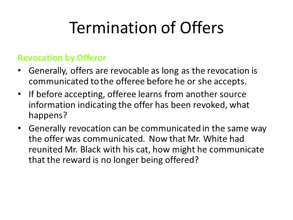Termination of Offers Revocation by Offeror