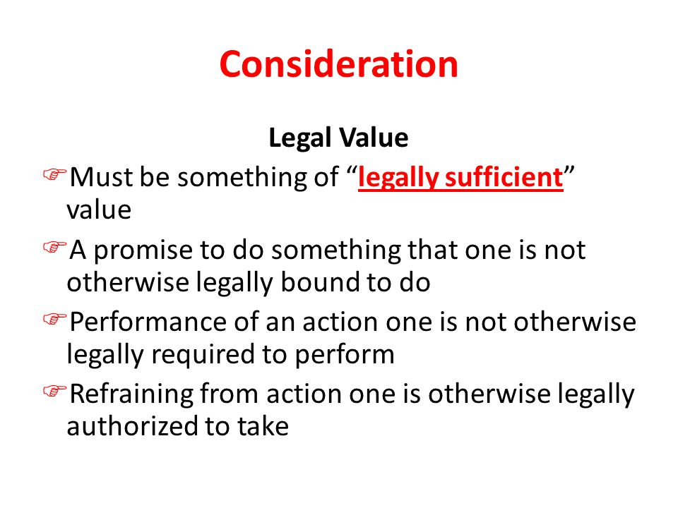 Consideration Legal Value
