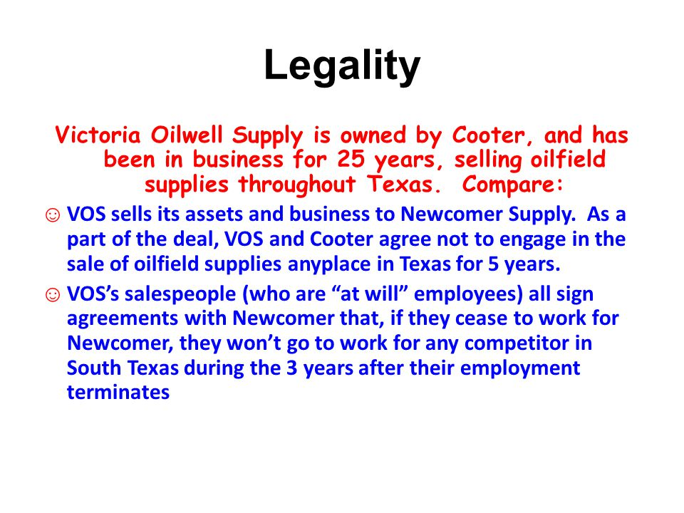 Legality Victoria Oilwell Supply is owned by Cooter, and has been in business for 25 years, selling oilfield supplies throughout Texas. Compare:
