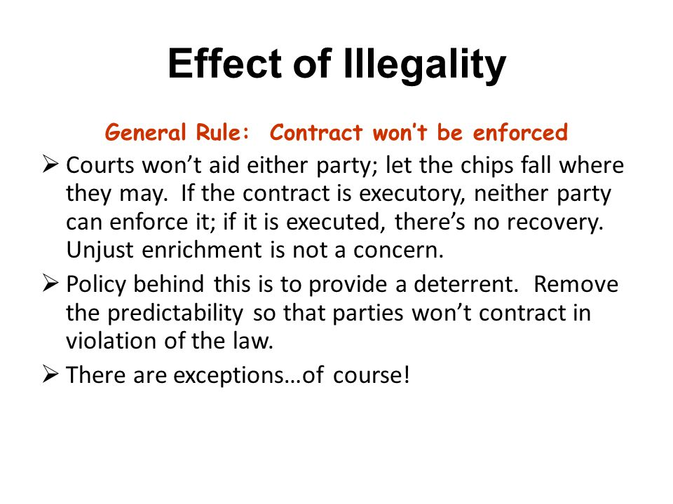 General Rule: Contract won't be enforced