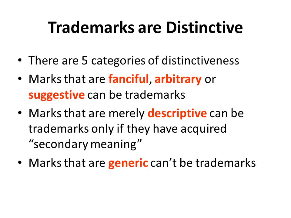 Trademarks are Distinctive