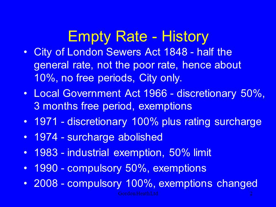 Empty Rate - History City of London Sewers Act 1848 - half the general rate, not the poor rate, hence about 10%, no free periods, City only.
