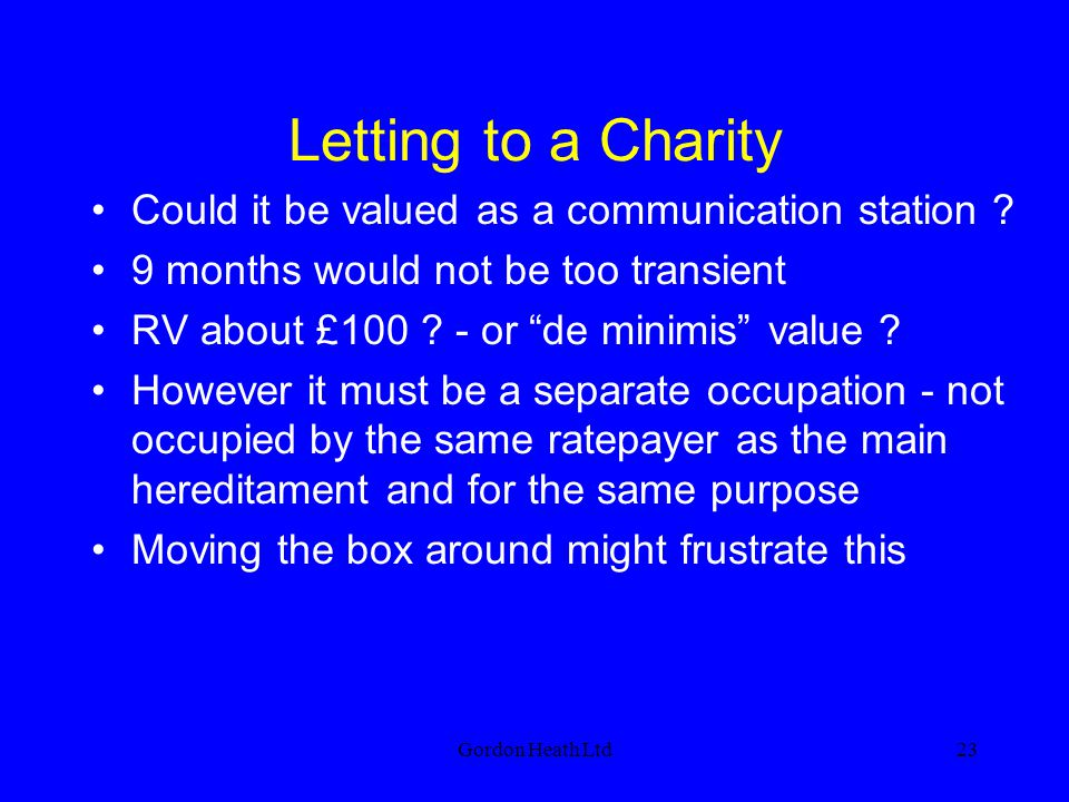Letting to a Charity Could it be valued as a communication station