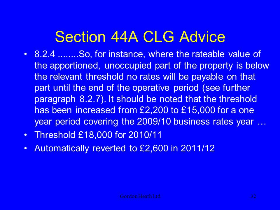 Section 44A CLG Advice