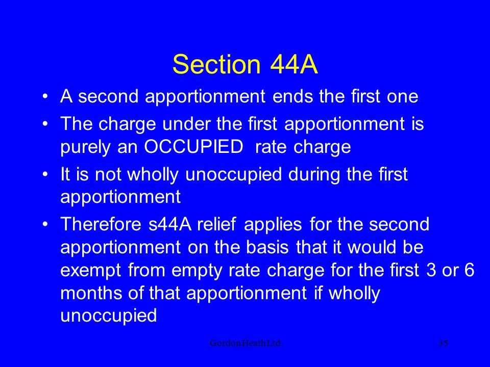Section 44A A second apportionment ends the first one