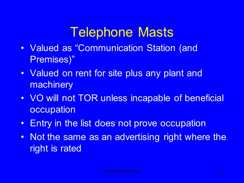 Telephone Masts Valued as Communication Station (and Premises)