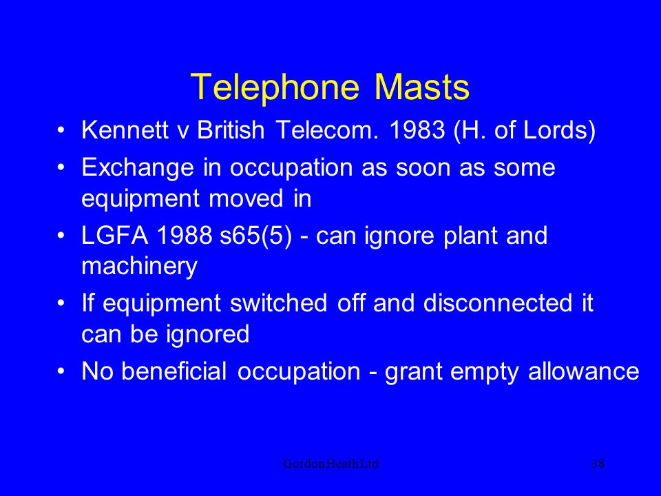 Telephone Masts Kennett v British Telecom. 1983 (H. of Lords)