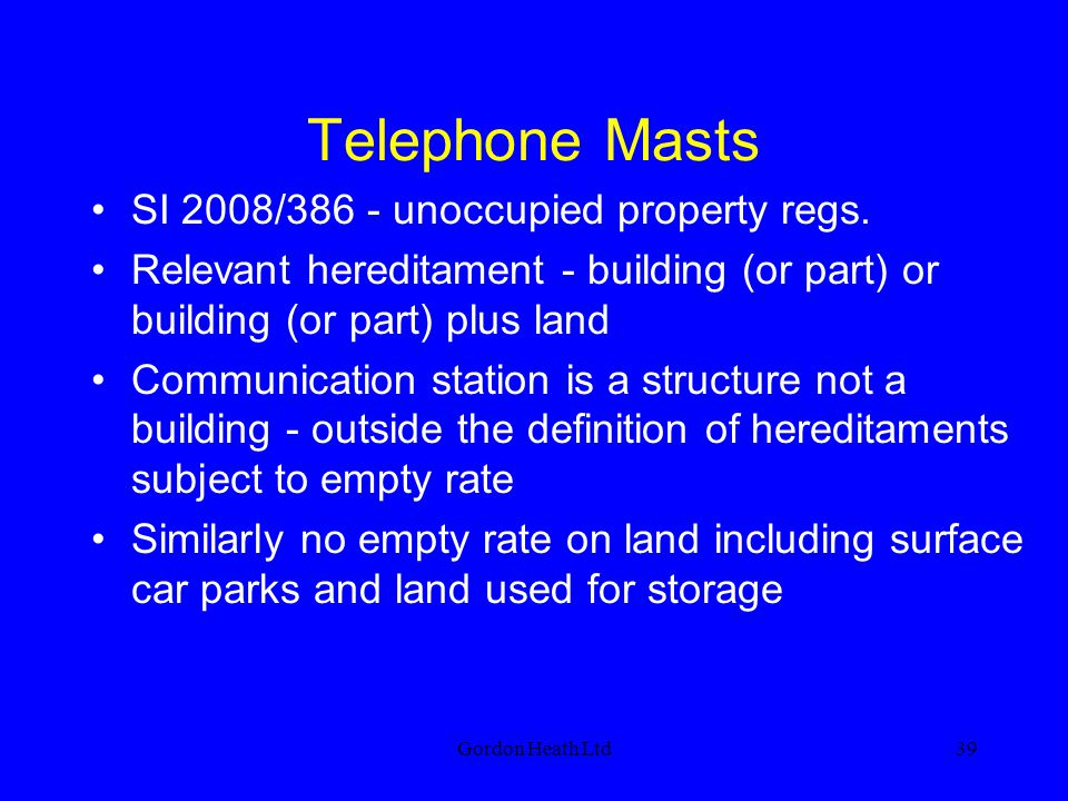 Telephone Masts SI 2008/386 - unoccupied property regs.