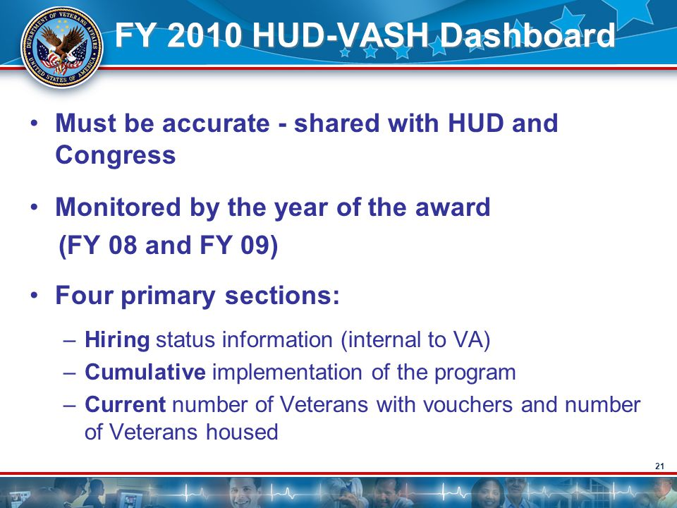 FY 2010 HUD-VASH Dashboard Must be accurate - shared with HUD and Congress. Monitored by the year of the award.