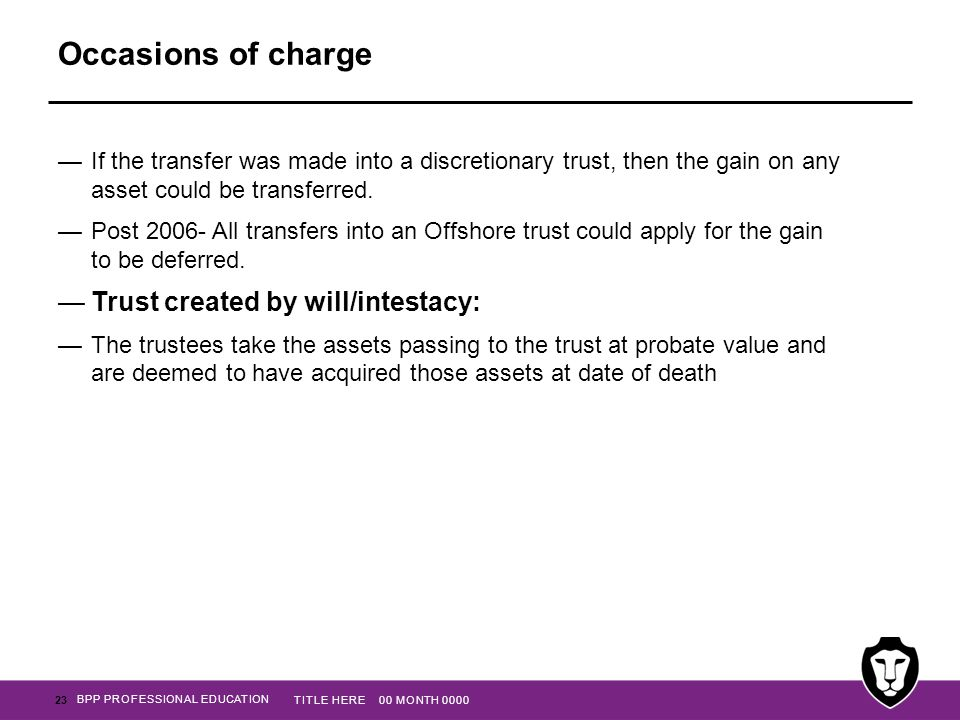 Occasions of charge Trust created by will/intestacy: