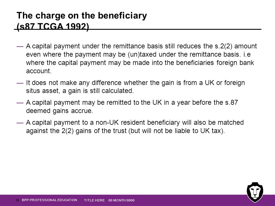 The charge on the beneficiary (s87 TCGA 1992)