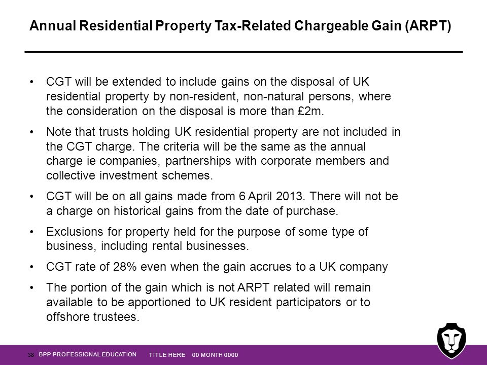 Annual Residential Property Tax-Related Chargeable Gain (ARPT)