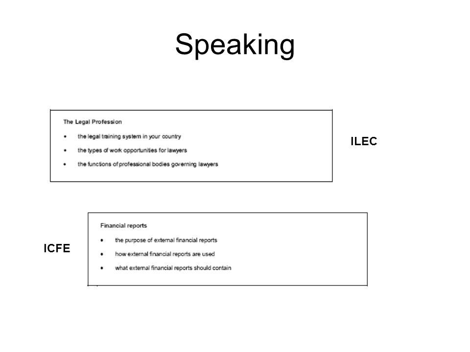 Speaking ILEC ICFE