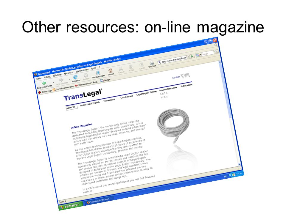 Other resources: on-line magazine