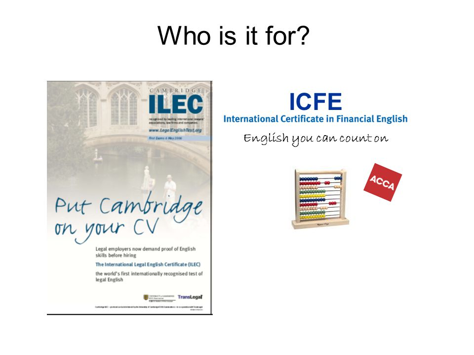 Who is it for ICFE English you can count on