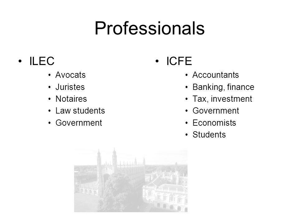 Professionals ILEC ICFE Avocats Juristes Notaires Law students