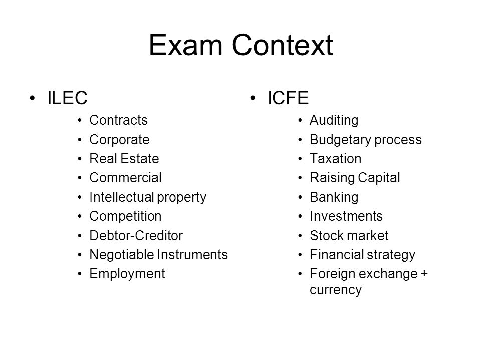 Exam Context ILEC ICFE Contracts Corporate Real Estate Commercial