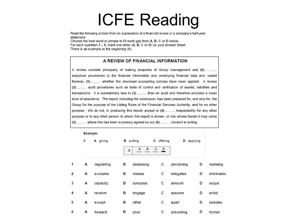 ICFE Reading