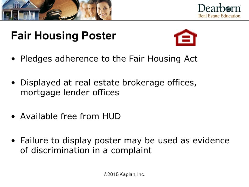 Fair Housing Poster Pledges adherence to the Fair Housing Act