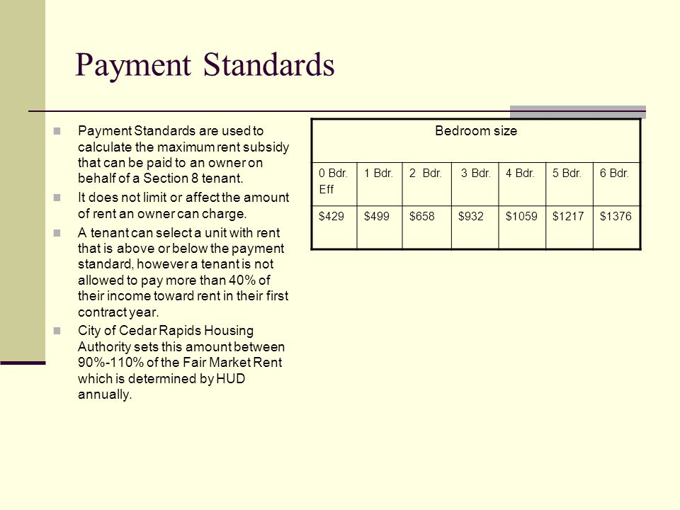 Payment Standards Bedroom size