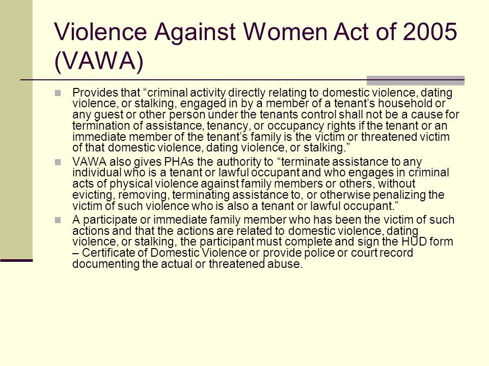 Violence Against Women Act of 2005 (VAWA)