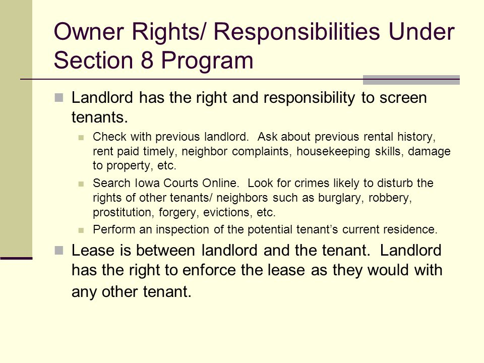 Owner Rights/ Responsibilities Under Section 8 Program