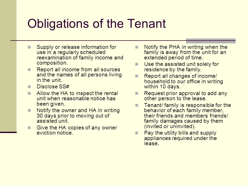 Obligations of the Tenant