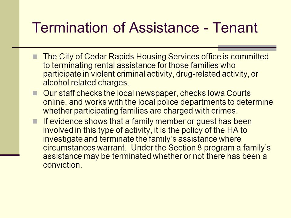 Termination of Assistance - Tenant
