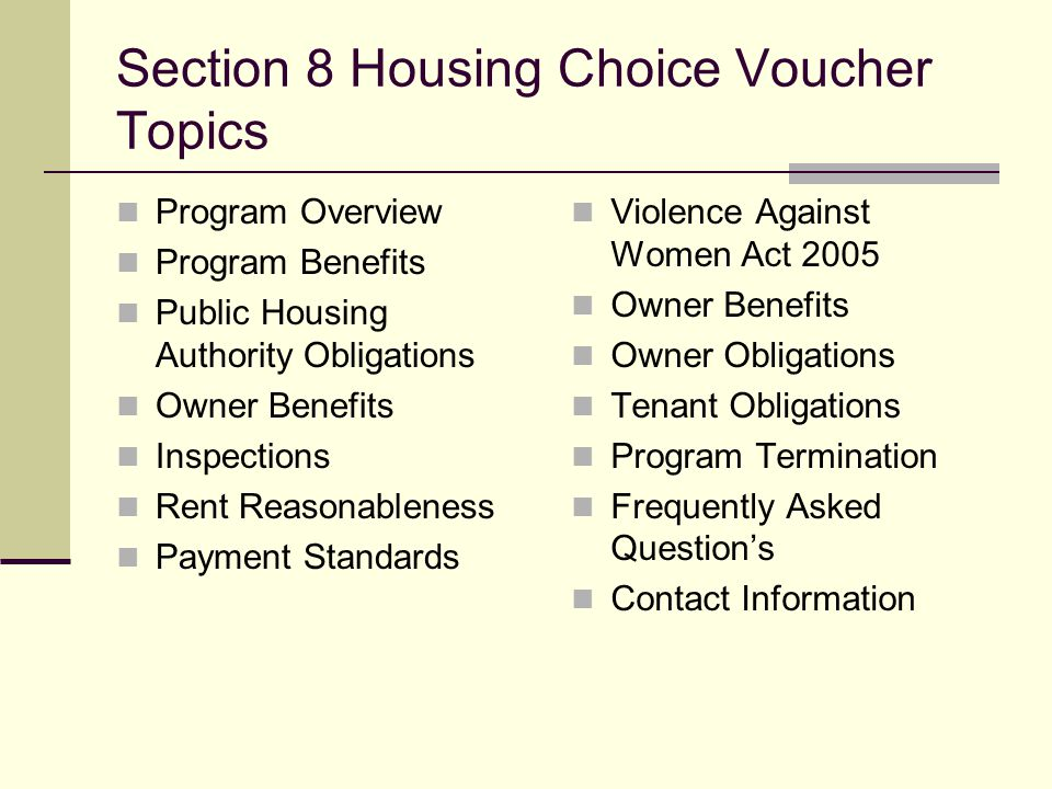 Section 8 Housing Choice Voucher Topics