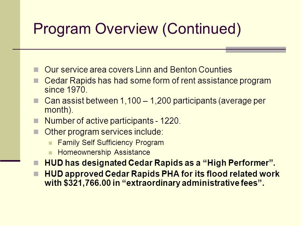 City Of Cedar Rapids Section 8 Housing Choice Voucher Program