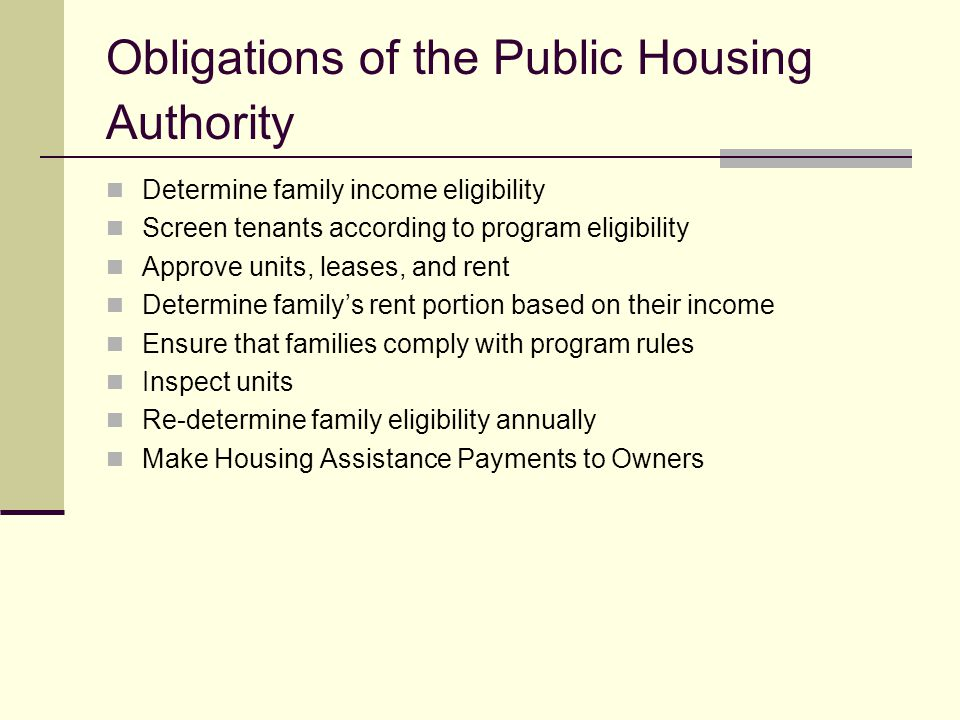 Obligations of the Public Housing Authority