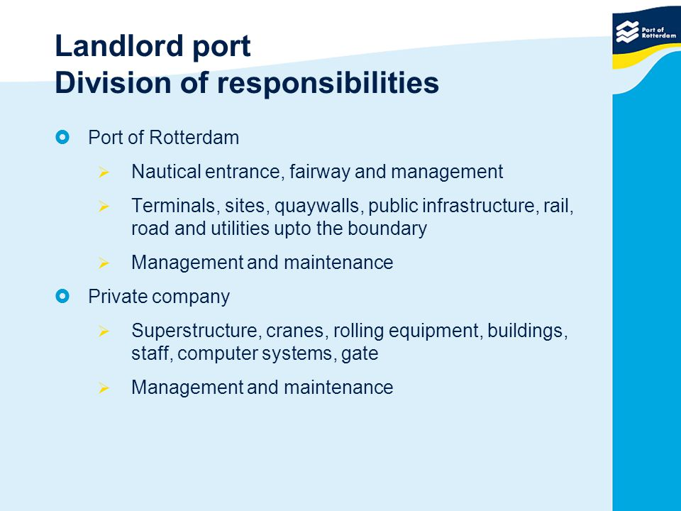 Landlord port Division of responsibilities