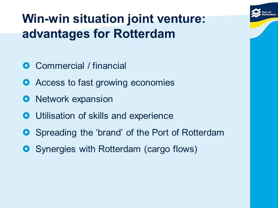 Win-win situation joint venture: advantages for Rotterdam