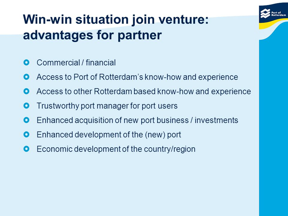 Win-win situation join venture: advantages for partner