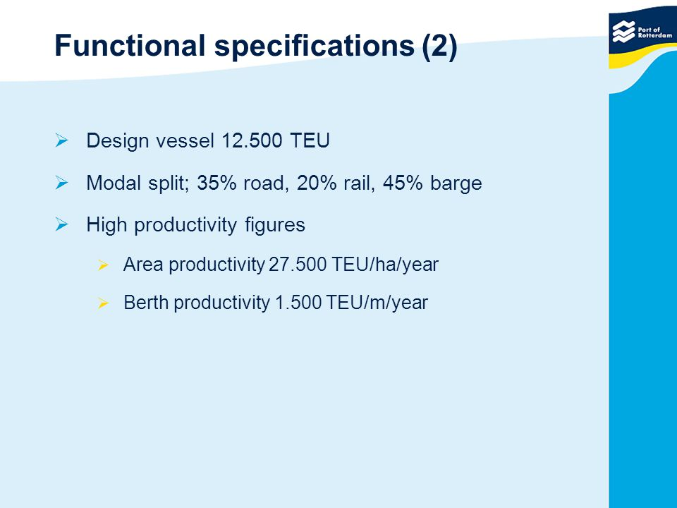 Functional specifications (2)