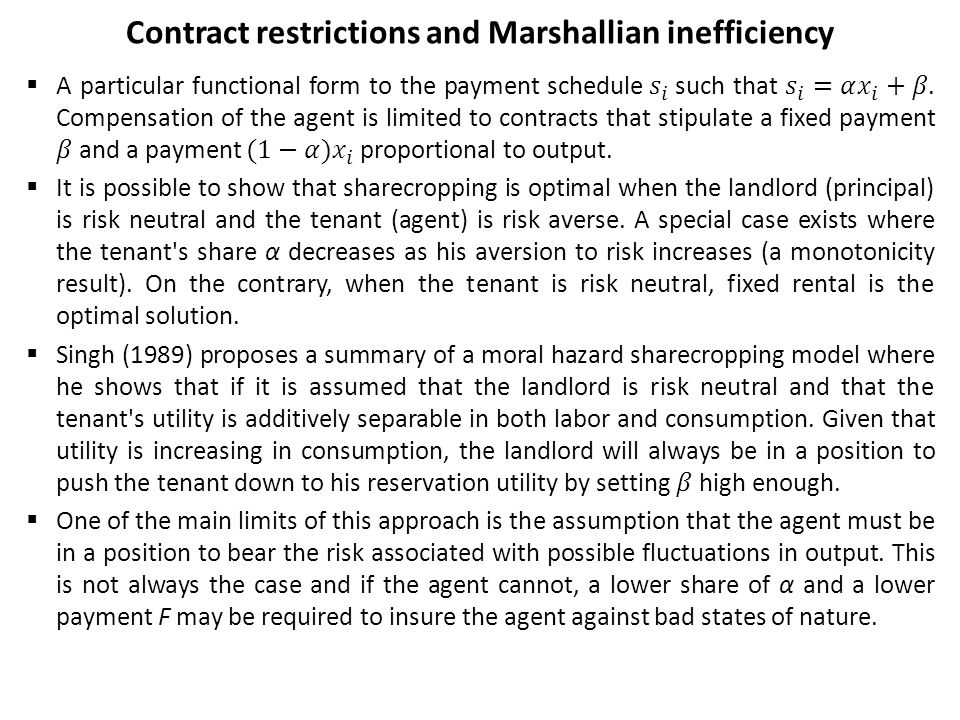 Contract restrictions and Marshallian inefficiency