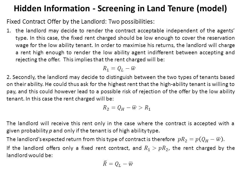 Hidden Information - Screening in Land Tenure (model)