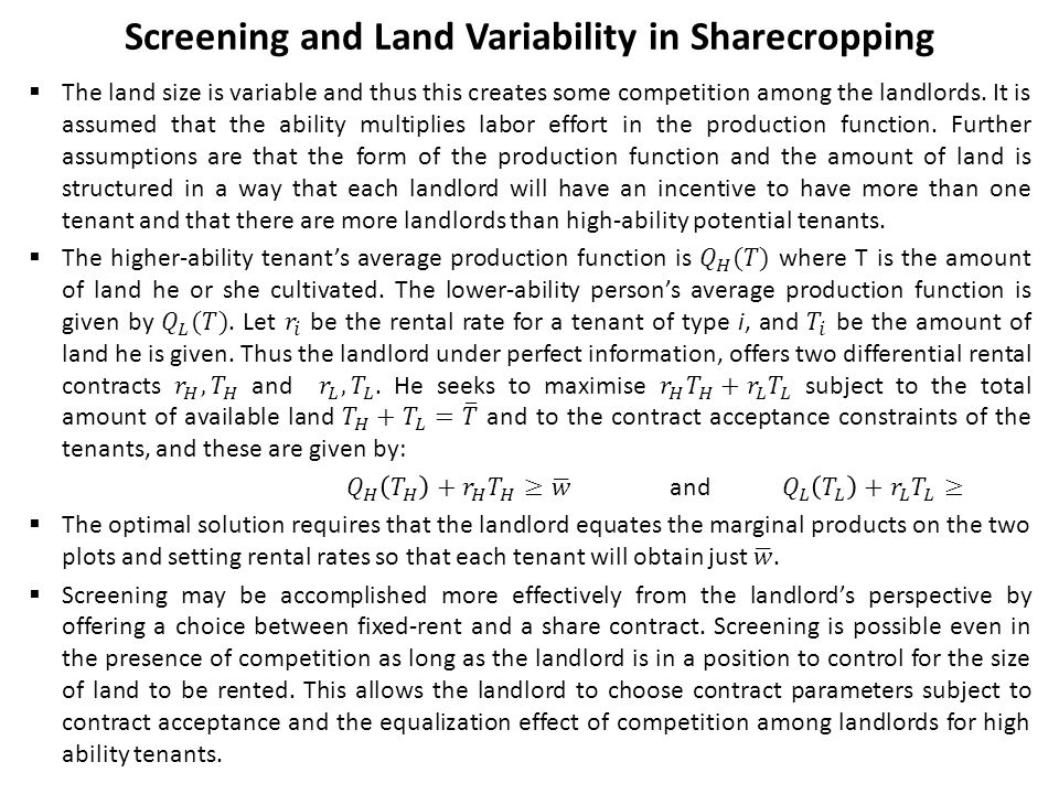 Screening and Land Variability in Sharecropping